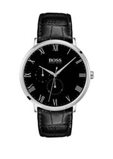 HUGO BOSS William Ultra Slim Stainless Steel and Leather Strap Chronograph Watch