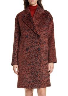 Hugo Boss HUGO Marca Animal Print Faux Fur Coat
