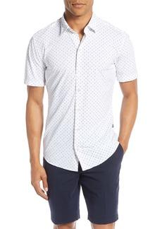 Hugo Boss BOSS Paisley Slim Fit Stretch Short Sleeve Button-Up Shirt