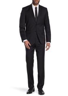 Hugo Boss Johnston Lenon Black Solid Two Button Notch Lapel Virgin Wool Regular Fit Suit