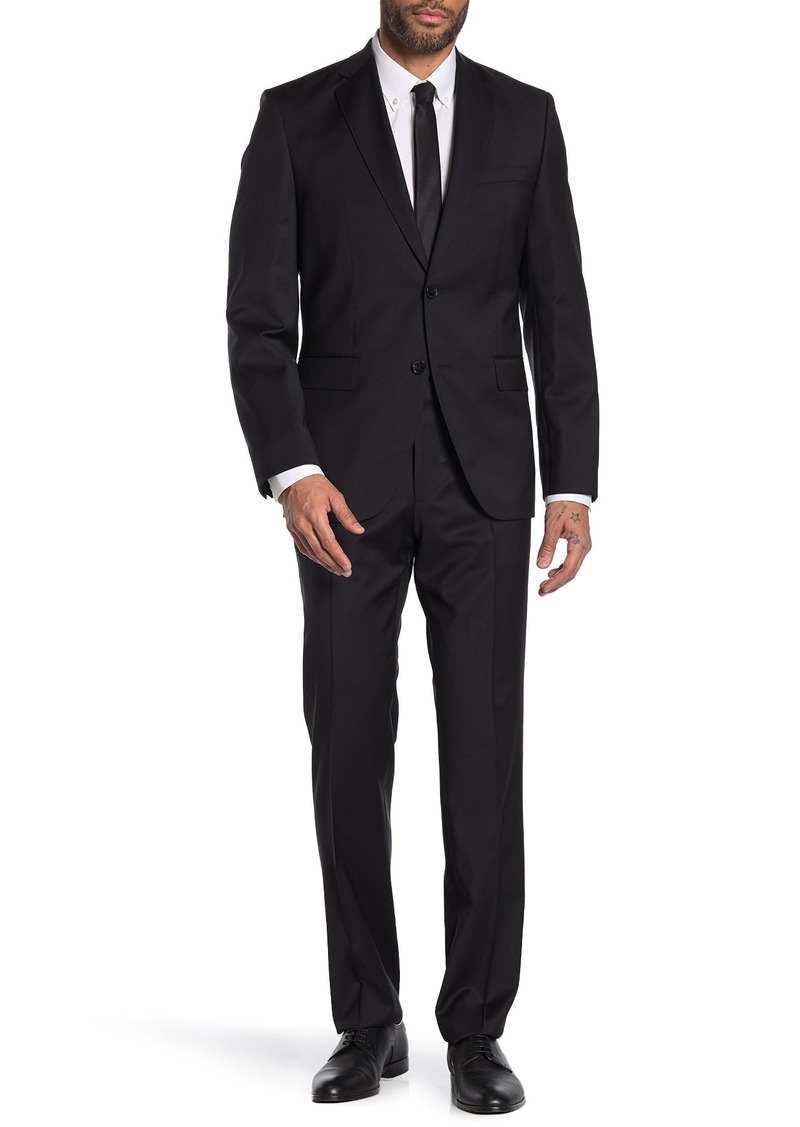 Hugo Boss Johnston Lenon Black Solid Two Button Notch Lapel Virgin Wool Regular Fit Suit