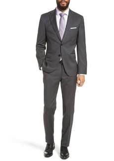 Hugo Boss Johnston Lenon Dark Grey Solid Two Button Notch Lapel Virgin Wool Regular Fit Suit