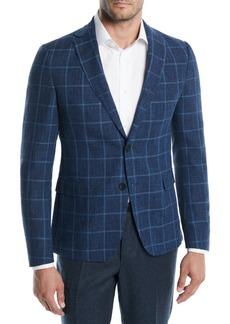 Hugo Boss Large Plaid Wool-Cotton Jacket