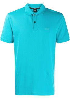 Hugo Boss logo embroidered polo shirt