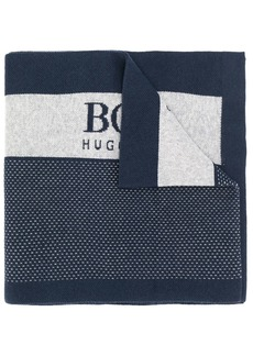 Hugo Boss logo intarsia colour-block scarf
