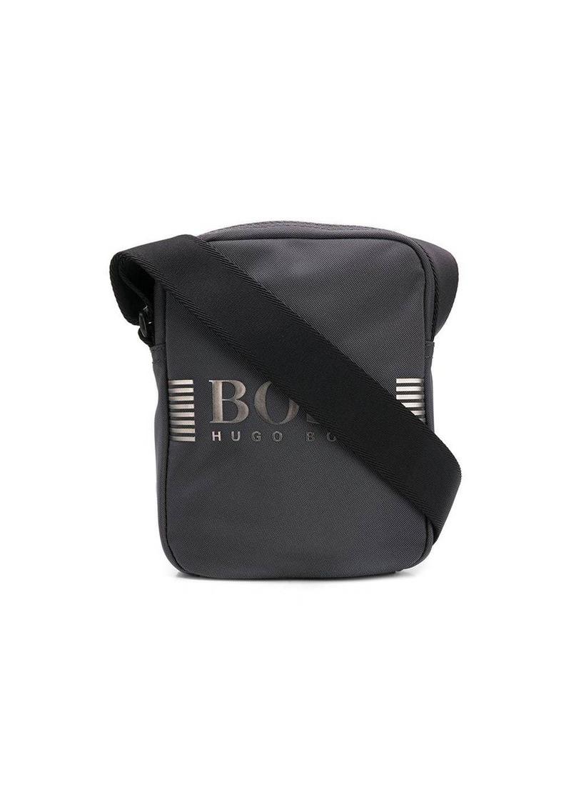 Hugo Boss logo plaque canvas shoulder bag
