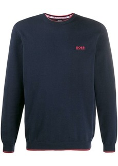 Hugo Boss logo print crew neck jumper