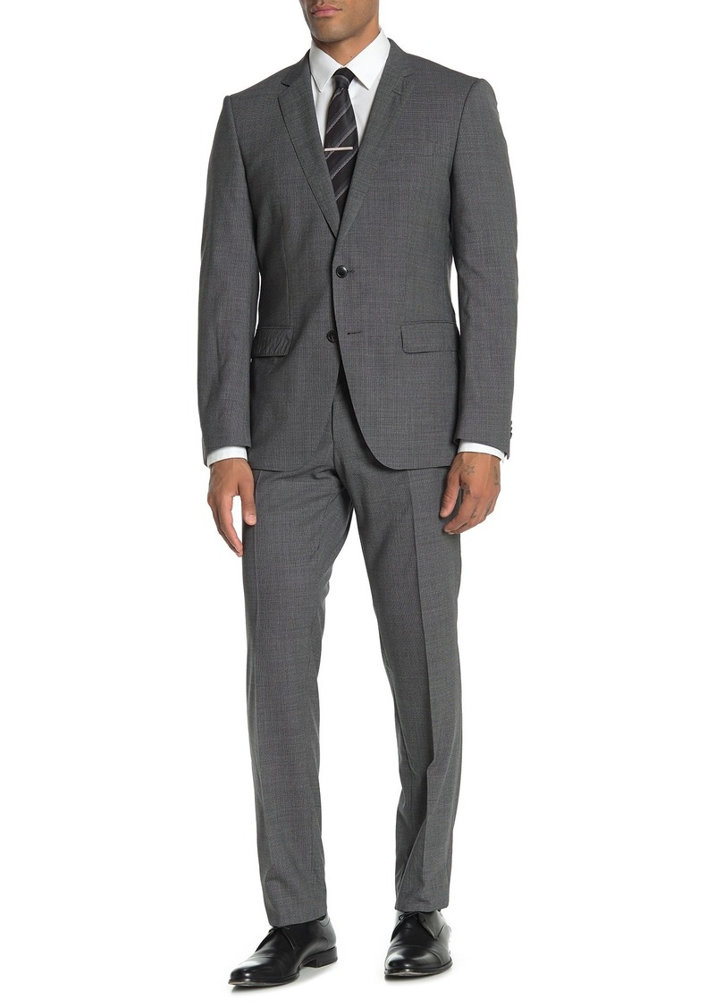 Hugo Boss Medium Grey Mini Houndstooth Two Button Notch Lapel Virgin Wool Slim Fit Suit