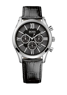 Hugo Boss Mens Boss Black Ambassador Stainless Steel Leather Strap Watch