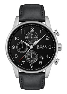 Hugo Boss Men's Boss Navigator Chronograph Leather Strap Watch