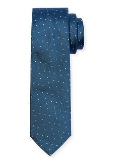 Hugo Boss Men's Pindot Silk Tie  Teal