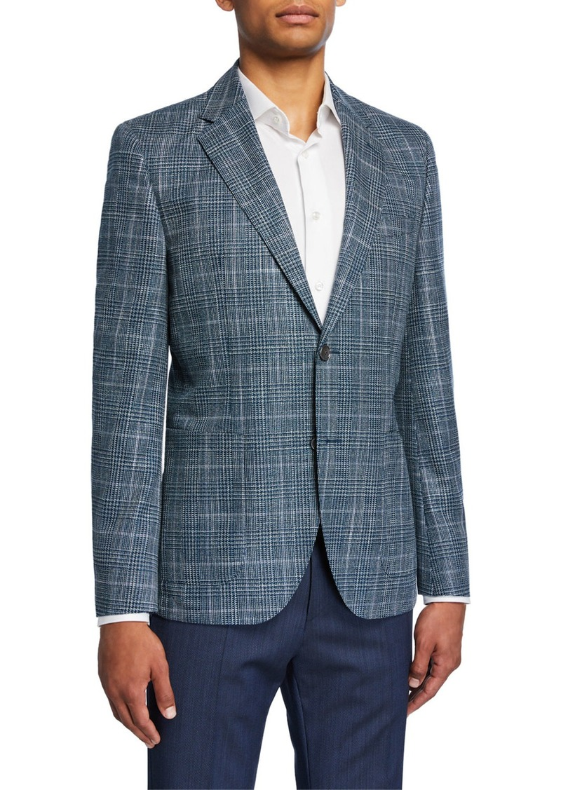 Hugo Boss Men's Plaid Wool/Silk Two-Button Jacket