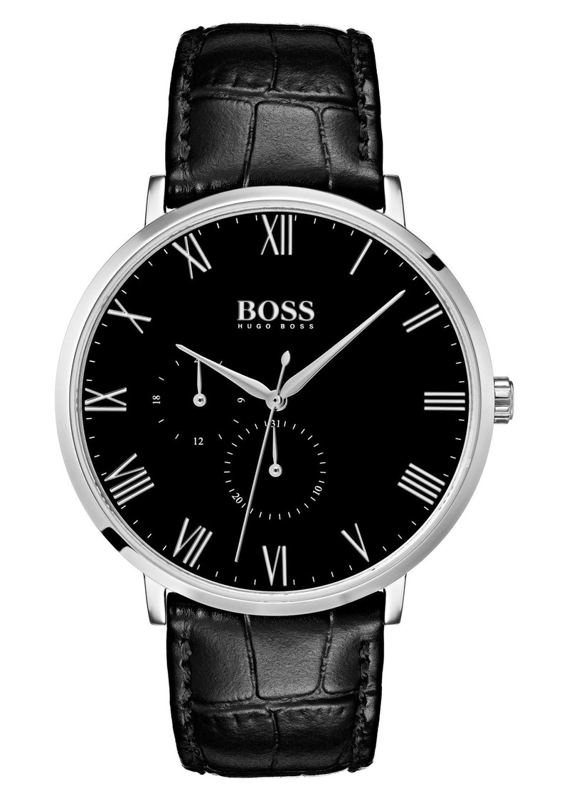 Hugo Boss Men's William Leather Strap Watch, 40mm