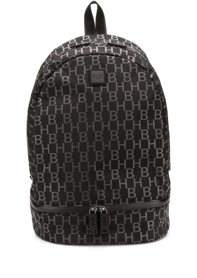Hugo Boss monogram-print structured backpack