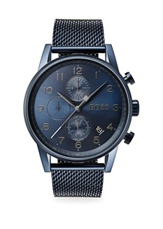Hugo Boss Navigator Ionic-Plated Dark Blue Steel Chronograph Bracelet Watch