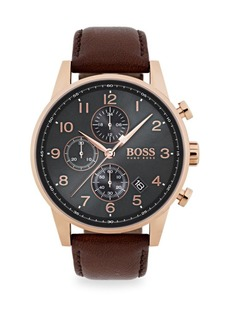 Hugo Boss Navigator Ionic Rose Gold-Plated Steel & Brown Chronograph Leather Strap Watch