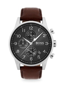 Hugo Boss Navigator Stainless Steel & Chronograph Brown Leather Strap Watch