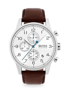 Hugo Boss Navigator Stainless Steel Chronograph Dark Brown Strap Watch