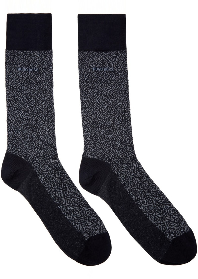 Hugo Boss Navy Mercerized Mini Pattern Socks