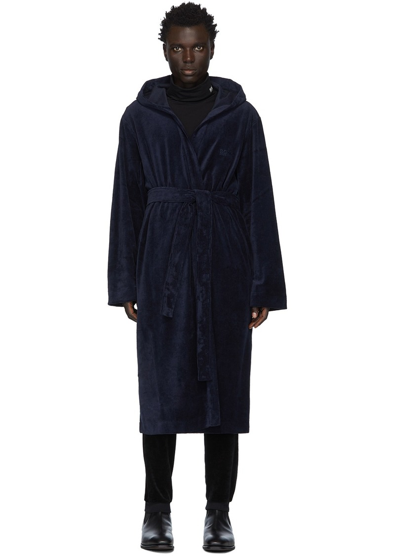 Hugo Boss Navy Velour Hooded Robe