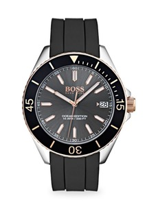 Hugo Boss Ocean Edition Stainless Steel & Black Silicone Strap Watch