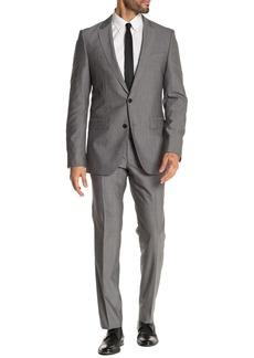 Hugo Boss Open Grey Solid Two Button Notch Lapel Virgin Wool Slim Fit Suit