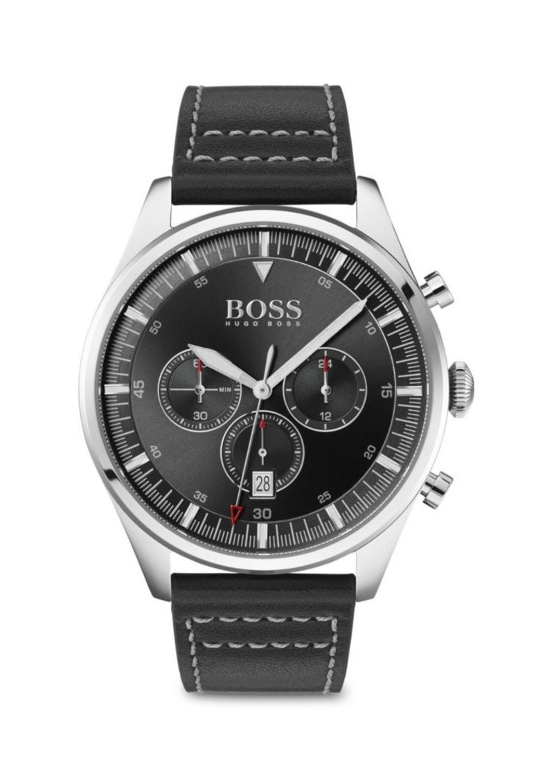 Hugo Boss Pioneer Stainless Steel & Leather-Strap Chronograph Watch