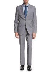 Hugo Boss Plaid Wool Two-Piece Suit  Light Gray