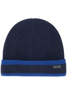 Hugo Boss ribbed beanie hat