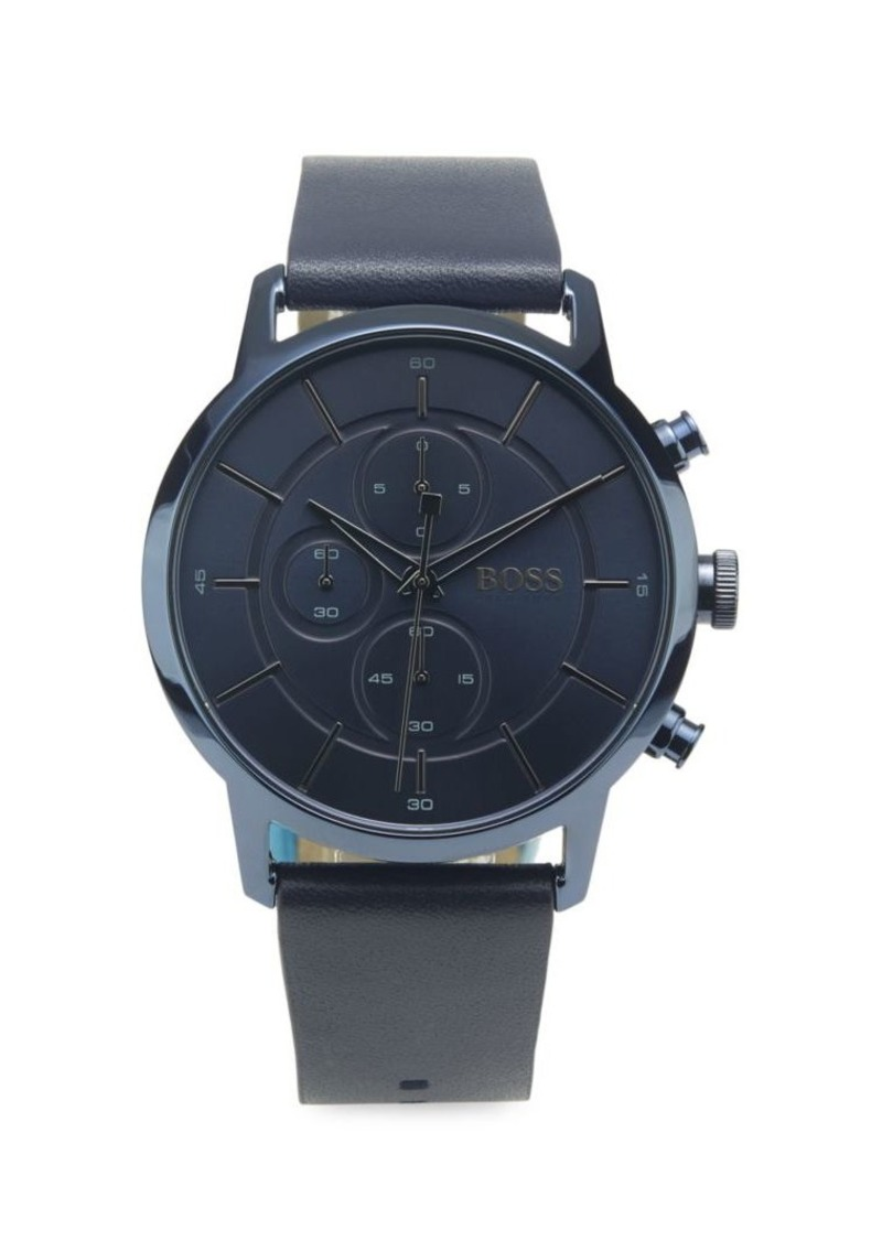 Hugo Boss Round Chronograph Leather-Strap Watch