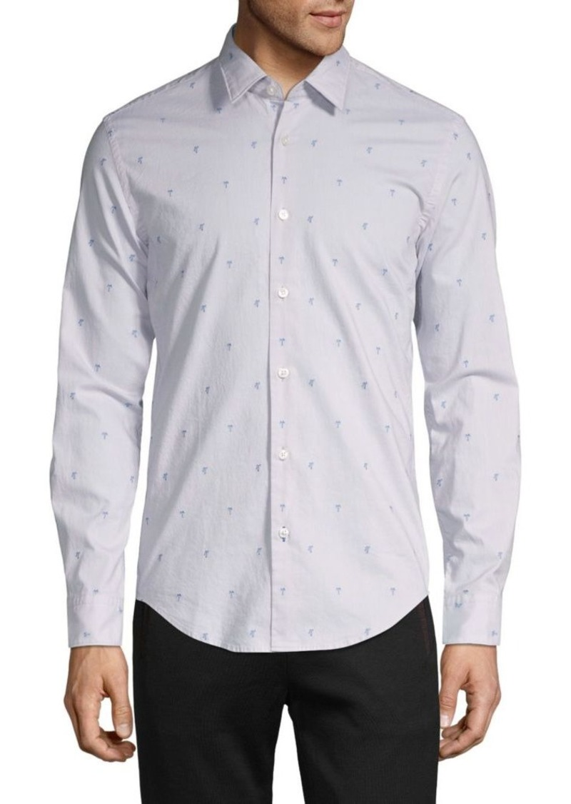 Hugo Boss Slim-Fit Printed Cotton Shirt