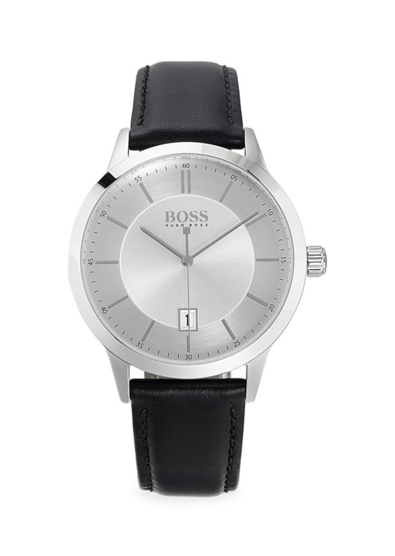 Hugo Boss Stainless Steel & Leather-Strap Watch