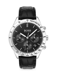 Hugo Boss Talent Stainless Steel & Black Chronograph Leather Strap Watch