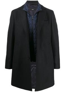 Hugo Boss textured buttoned coat
