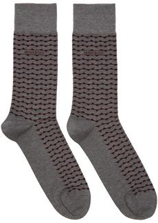 Hugo Boss Two-Pack Grey & Red Stripe Socks