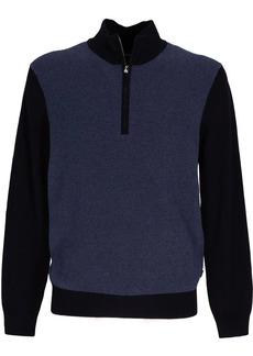 Hugo Boss zip-neck cotton-blend sweater