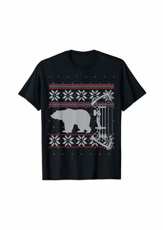 Bear Hunting Bow Hunter Ugly Christmas Sweater Style T-Shirt