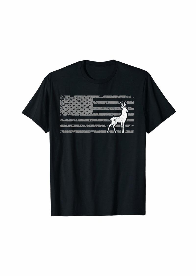Cool Bow Hunting US Flag Design Deer Hunter Gift T-Shirt