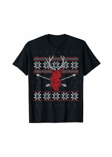 Deer Hunter Bow Hunting Buckin' Ugly Christmas Sweater Style T-Shirt