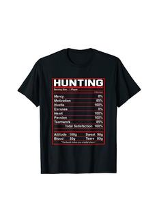 Funny Hunting Nutrition Facts Deer Elk Hunter T-Shirt