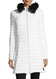 Hunter Boot Quilted Fitted Zip-Front Midi Coat w/ Faux-Fur