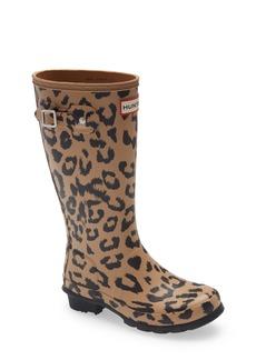 Hunter Kids' Original Tall Leopard Print Waterproof Rain Boot (Little Kid & Big Kid)
