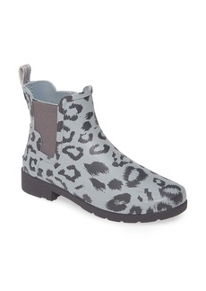 Hunter Original Leopard Print Refined Chelsea Waterproof Rain Boot (Women)