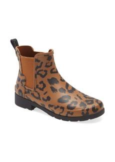 Hunter Original Leopard Print Refined Chelsea Waterproof Rain Boot (Women)