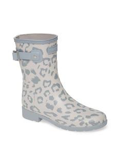 Hunter Original Leopard Print Refined Short Waterproof Rain Boot (Women)