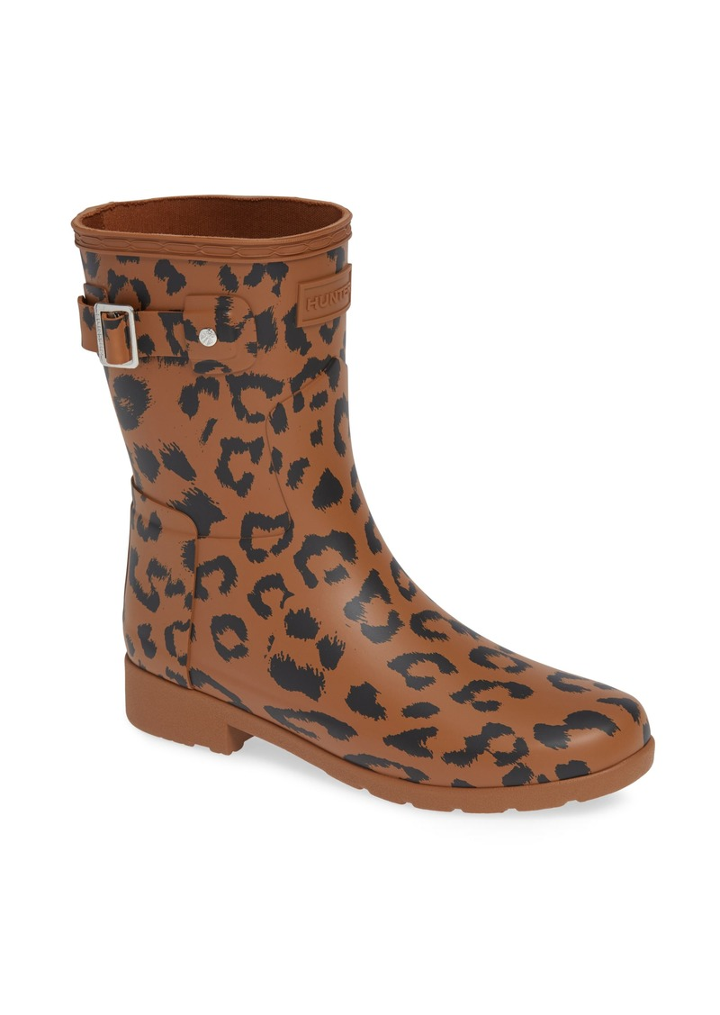 3c05fd473363 Hunter Original Leopard Print Refined Short Waterproof Rain Boot (Women)