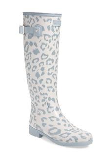 Hunter Original Leopard Print Refined Tall Waterproof Rain Boot (Women)