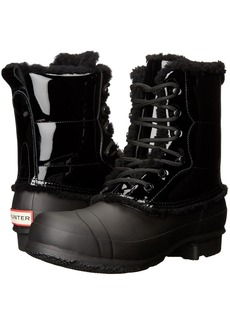 Hunter Original Patent Leather Lace-Up Shearling Lined Boot