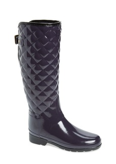Hunter Original Refined High Gloss Quilted Waterproof Rain Boot (Women)