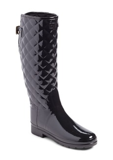 Hunter Original Refined High Gloss Quilted Waterproof Rain Boot (Women)